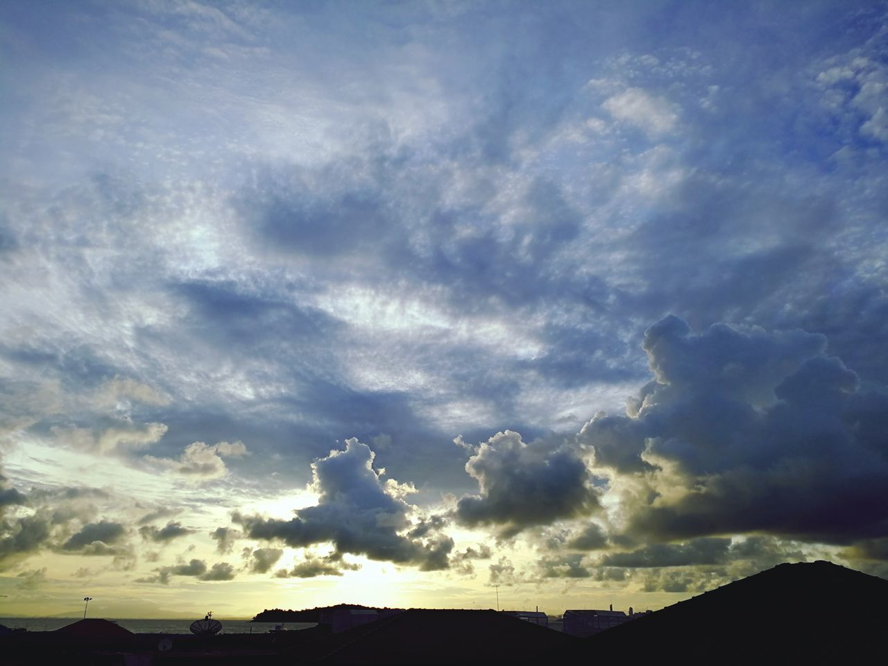 sky, cloud - sky, scenics, beauty in nature, nature, tranquility, tranquil scene, no people, outdoors, silhouette, sunset, day