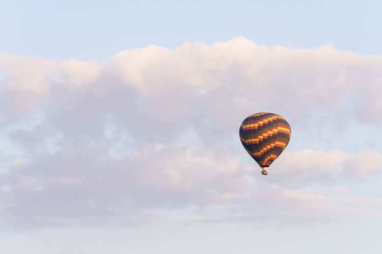 Hot Air Balloon Hot Air Balloon Sky Flying Adventure Transportation Outdoors No People Freedom Sport Balloon Nature Cloud - Sky Mid-air Air Vehicle Beauty In Nature Sunny Freedom High In The Sky Concept Conceptual Travel Journey Ride Day Summer Summertime