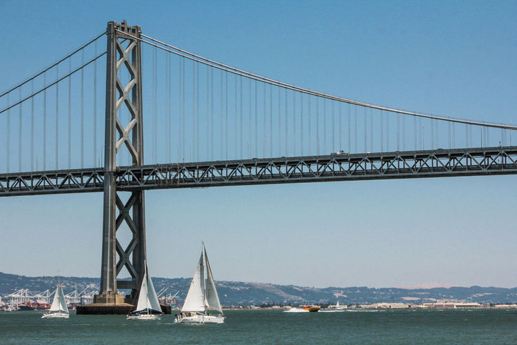 Adventure Club Blue Boat Bridge Bridge - Man Made Structure Clear Sky Connection Day Development Engineering Mast Mode Of Transport Nature No People Ocean On The Way Outdoors Sky Suspension Bridge Tourism Showcase July Transportation Travel Destinations Water California Dreamin