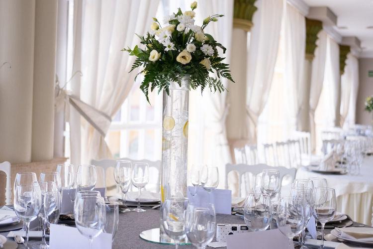 Flower vase on dining table