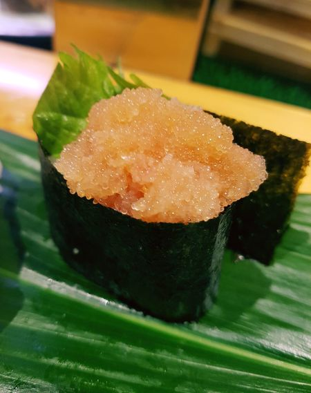 A sushi with salted pollack roe Yummy Pollack Roe Fukuoka-shi Japan Dinner EyeEm Sushi Low Angle View Business Pleasure