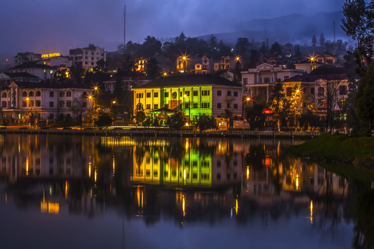 Sa Pa town in The Night Architecture Building Exterior Built Structure Building Water Reflection Illuminated City Night Residential District Waterfront Nature No People Lake Dusk Sky Outdoors House Travel Destinations
