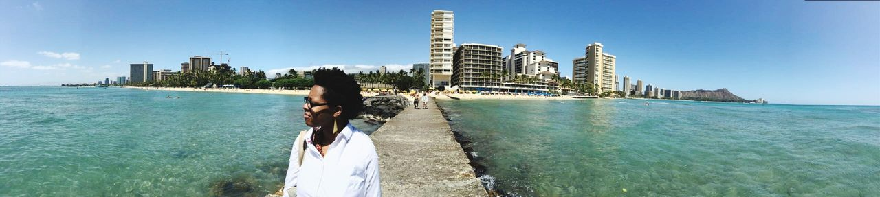 Welcome to Waikiki April 2016 Beach Vacations ワイキキ ハワイ Hawaiilife Vacations Scenics Travel Destinations Sea Water Sand Outdoors Rear View One Person Building Exterior Black Woman Hair African American Built Structure Sky Panoramic