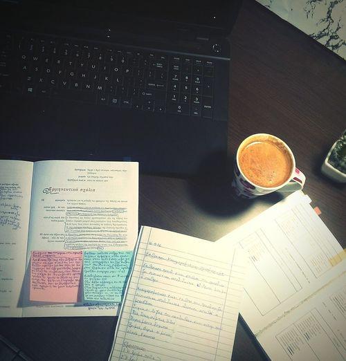 Studying Ancient Greek..!! 📖📚✏ Μαντίθεος Ancient Greek ExamWeek Grammar Coffee ☕
