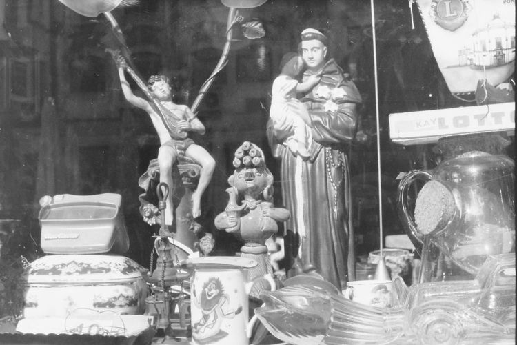 Taken with EXA 1c + Pentacon 50mm f/1.8 + Kodak Tri-X 100 film Kodak Santo Antonio Blackandwhite Close-up Display Window Film Photography Fleamarket Human Representation Monochrome No People No People, Saint Anthony Sculpture Shop Shop Window Statue Stuff Vintage Vintage Cars Vintage Shop