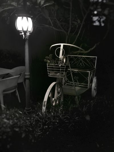 Illuminated chair at night