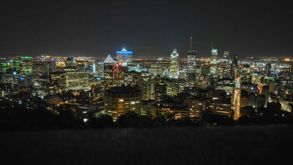 Cityscape Night Urban Skyline City Skyscraper Illuminated Travel Destinations Architecture No People Landscape Sky Scenics Outdoors Montreal, Canada Black Color