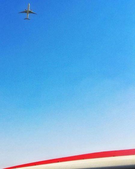Picturesque. Abudhabi Ferrariworld Yasisland Architecture ZahaHadid Bluesky Colors Blue Red ShotOniPhone6 Composition