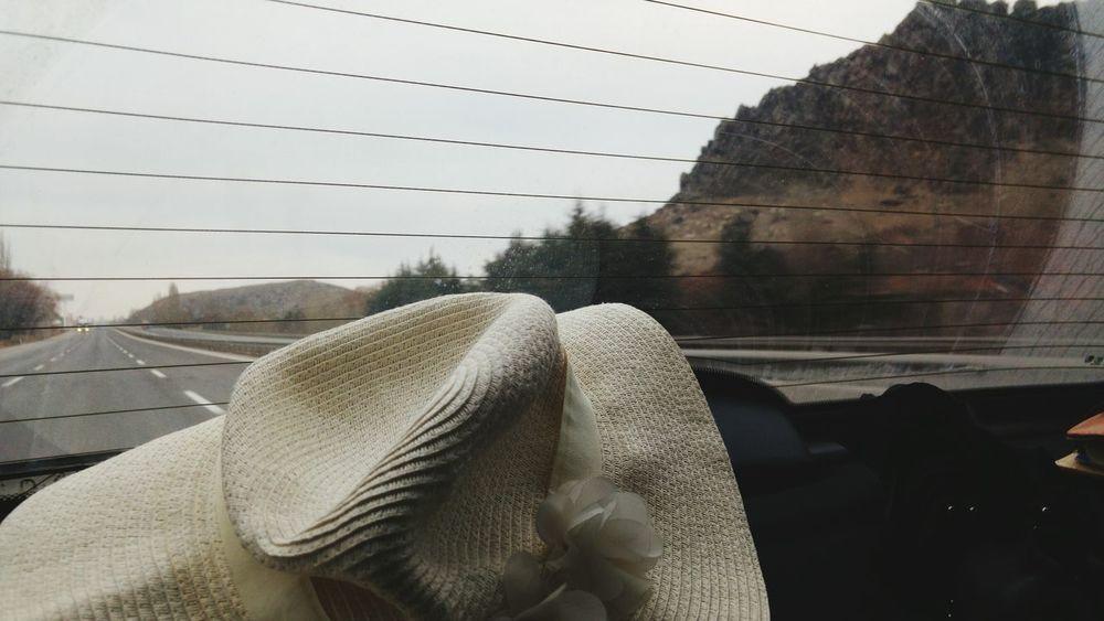 On the road Day Hat Woman Hat On The Road Road Car Back Window Car Photography Isparta Turkey Amazing Road Scene Travelling Travelling Photography Scenics Awesome Architecture