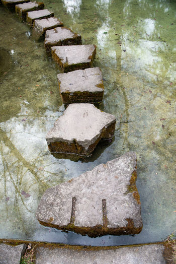 High angle view of stones in water
