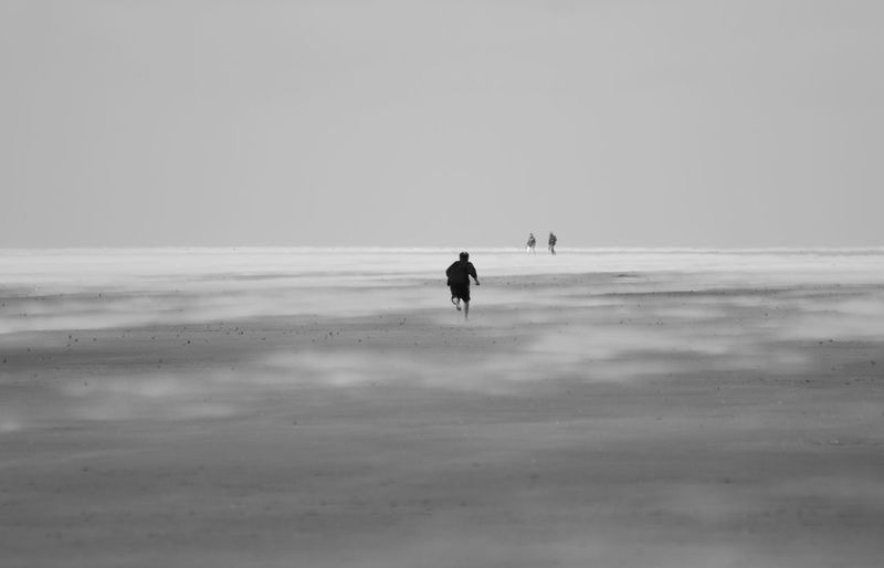 Silhouette People Walking On Beach
