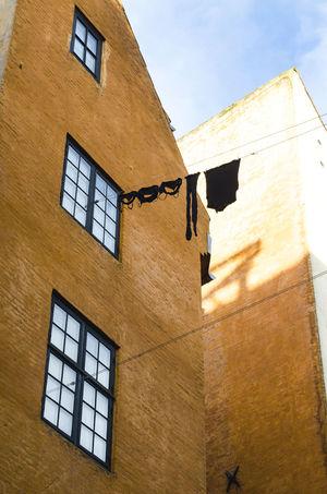 Building City Clothes Copenhagen Laundry Orange Sky Sunny Day Underwear Exposed Urban View Windows