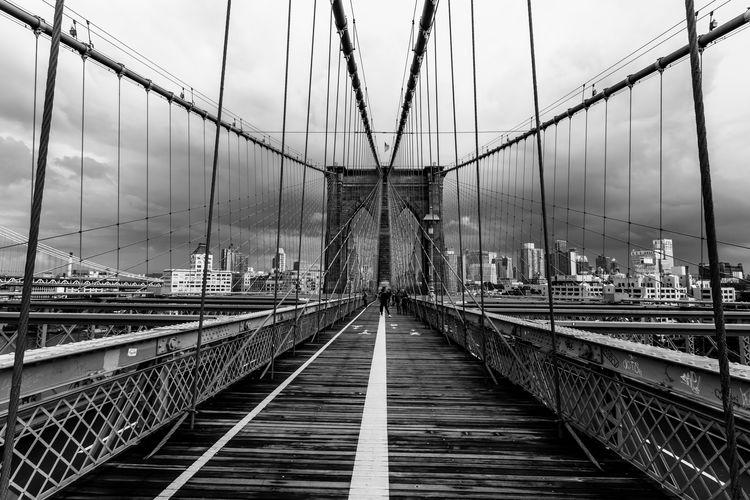 Bridge in city against cloudy sky