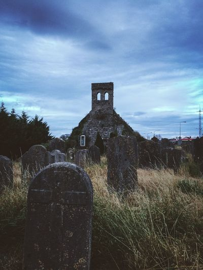 Old Irish cemetery Cemetery Church Irish Architecture Sky Built Structure Cloud - Sky Building Exterior Building Nature No People Outdoors History Tower Religion Old The Past Day