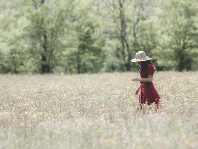 the red break Day Field Fields Full Length Fun Girl Grass Jacket Landscape Leisure Activity Lifestyles Nature Nature Outdoors Running Selective Focus Spring Summer Tree Feel The Journey Girl Power Original Experiences People