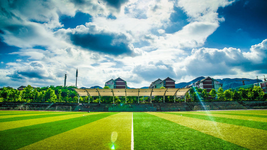 Chongqing Medical University Grass Sky Plant Cloud - Sky Architecture Built Structure Green Color Sport Building Exterior Nature Soccer No People Day Soccer Field Field Tree Lawn Land Team Sport Building Outdoors Hedge