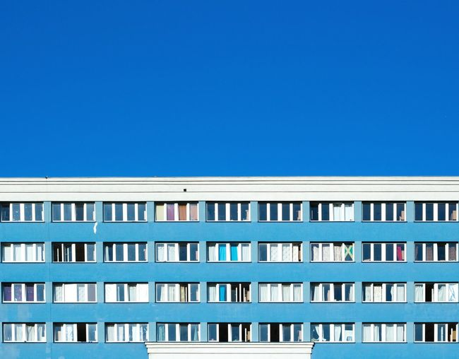 View of building against clear blue sky