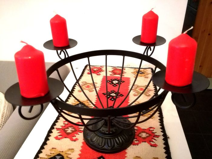 Red Indoors  No People Day Close-up Candle X-mas Is In The Air🎄🎅 Tradition Advent Adventskranz Waiting For Xmas CountdownToChristmas Advent Candles Advent Crown Candlestick Holder Candleholder 4 Weeks Till Xmas
