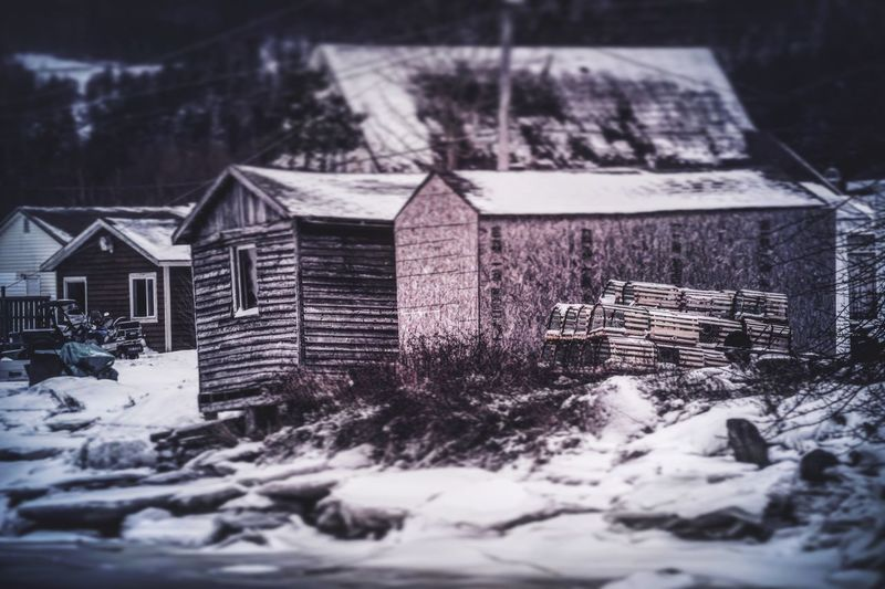 Scenes from a rural fishing community. Winter Snow Building Exterior Cold Temperature Architecture Built Structure Outdoors Landscape Nature No People Day Photography Newfoundland NLWX East Coast Water Frozen Lake Bay Overcast