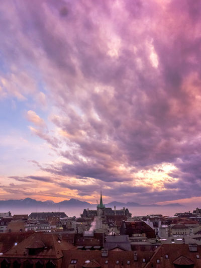 Architecture Building Exterior Built Structure City Cityscape Cloud - Sky Lausanne No People Outdoors Sky Sunset Sunset And Clouds  Switzerland Travel Destinations Urban Skyline