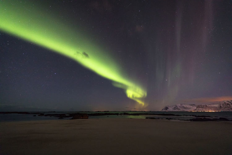 Astronomy Aurora Borealis Aurora Polaris Beach Beauty In Nature Cold Temperature Galaxy Green Color Landscape Light Lofoten Lofoten Islands Mountain Nature Night No People Northern Lights Norway Outdoors Scenics Sea Sky Star - Space Tide Winter The Great Outdoors - 2017 EyeEm Awards Perspectives On Nature