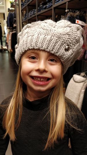 Portrait Hat Smiling Happiness Childhood One Person Child Looking At Camera Headshot Clothing Emotion Front View Long Hair Hair Knit Hat Girls Close-up Real People Hairstyle Warm Clothing Innocence