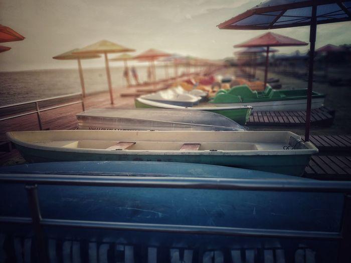 Boats Beach Boats Umbrellas Summer Summer Exploratorium