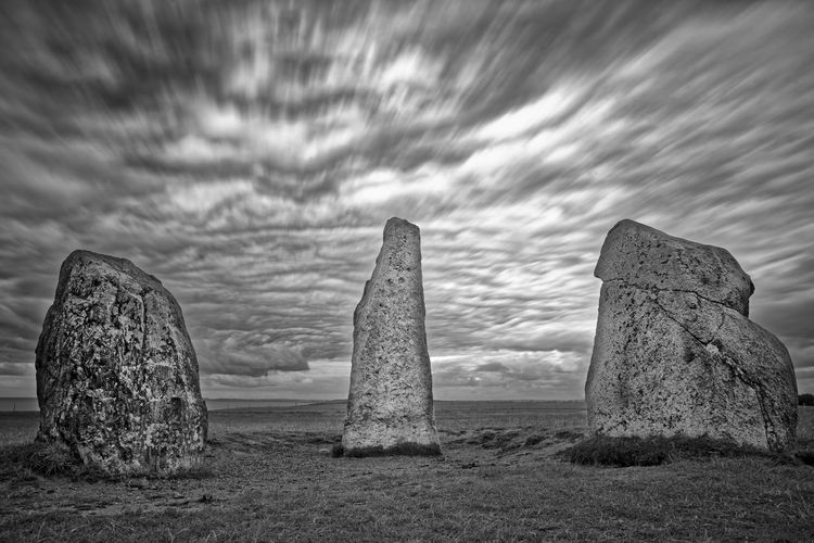 Elements Dramatic Sky Ancient Landscape Skåne Kåseberga Sweden Stone Ales Stenar Clouds And Sky Clouds Pillars Movement Long Exposure Day