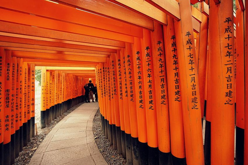 Fushimi Inari-taisha. By SONY A7R Fushimi Inari-taisha Japan Japan Architecture Adult Architecture Built Structure Day Full Length In A Row Indoors  One Person Orange Color People Real People Red The Way Forward Travel Destinations
