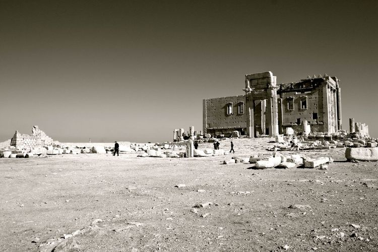Abandoned Architecture Beach Built Structure Clear Sky History Incidental People Large Group Of People Leading Outdoors Postprocessing Religion Sanctuary Of Bel Sand Shore Sky Tourism Tourist Travel Travel Destinations Vacations Vignette