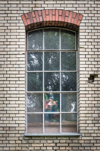 Insights Architecture Brick Wall Building Exterior Built Structure Day Flowers Glass Reflection Industrial No People Outdoors Reflection Tree Window