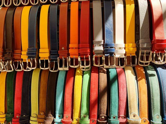 Full frame shot of multi colored belts for sale at market stall