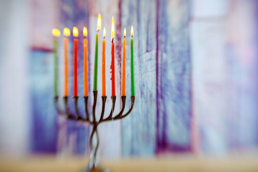 Menorah with candles for Hanukkah against defocused lights, close up Candle Hannukah Jewish Jewish Holiday Menorahcandles Tradition Burning Candle Hannukkah Hanukkah, Heat - Temperature Holiday - Event Judaica Judaism Kislev Kosher Menora Menorah Multi Colored