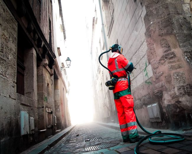 Man working in alley