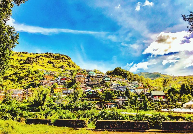The Mountain Side. Built Structure Building Exterior Architecture Sky Tree House No People Outdoors Nature Cloud - Sky Day Residential Building Growth Beauty In Nature Scenics Landscape Mountain Itsmorefuninthephilippines