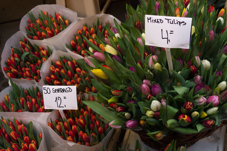 Various flowers for sale at market stall