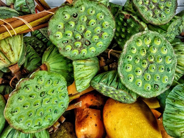 Lotus Waterlily Nature Fruiting Body Seedpod Green Color High Angle View Market Stall Consumable Eat Like Eating Nuts....