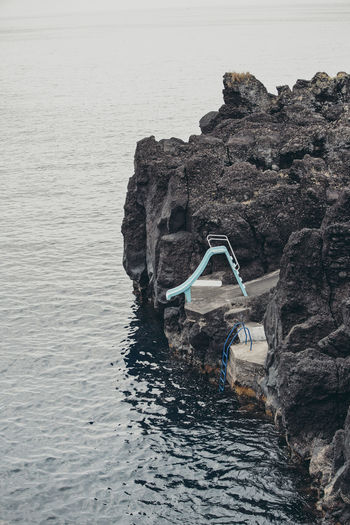 Azores Cliff Nature No People Pico Rock - Object Rock Formation Sea Slide Water