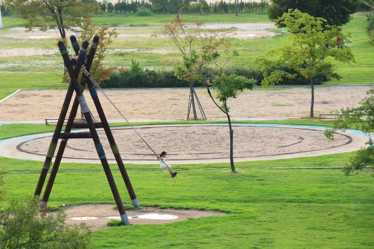 Outdoors Sunny Nature Kid Kids Swing Swings Trapeze Park Happy Children Child