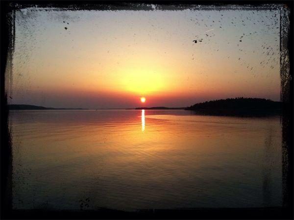 Sunset Water Water Reflections Järfälla