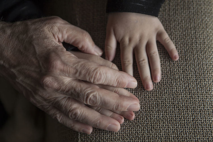 Grandfather And Grandson Hands Holding Hands Close Up Kid Old