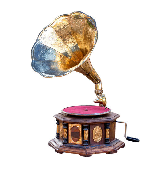 vintage gramophone isolate on white, retro technology White Background Old Antique Single Object Music Metal Gold Colored Technology Gramophone Vintage Record Audio Equipment Old-fashioned Classic 60's Object Speaker Isolated White Background Music Player