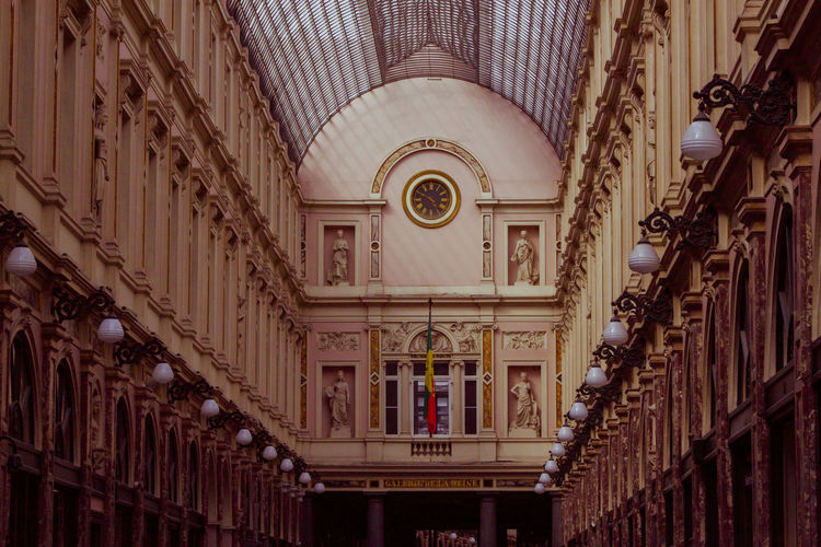 Architecture Belgium Brussels Ceiling Europe Famous Place Galerie De La Reine Low Angle View Majestic Tourism Travel Destinations