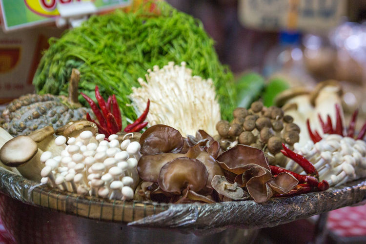 Food And Drink Food Variation Market Focus On Foreground Close-up Wellbeing Choice Still Life Healthy Eating No People Large Group Of Objects Ingredient Selective Focus Freshness Vegetable For Sale Retail  Indoors  Market Stall Thailand Market Phuket Raw Food Raw