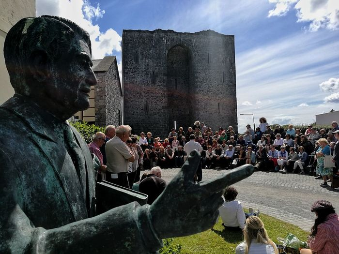 Arts Culture And Entertainment People Large Group Of People Crowd Outdoors Sky HuaweiP9Photography Travel Destinations Built Structure Ireland Architecture Stationary Statue Kerry Ireland Listowel Writers' Week Writers' Week