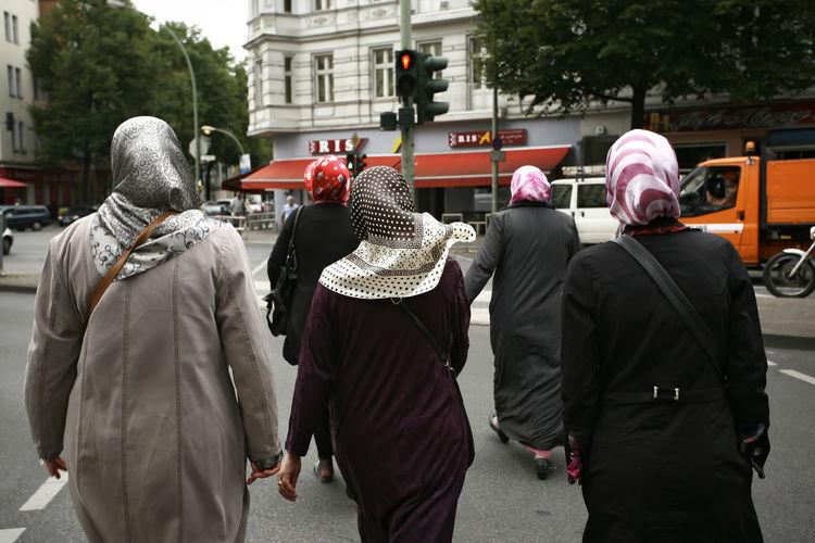 Berlin, Neukölln. Berlin Burka  Chador Crossing The Street Daily Life Hijab Immigrants Integration Migrant Muslim Woman Muslim Women Neukölln Real People Redlight Street Photography Turkish Turkish Women
