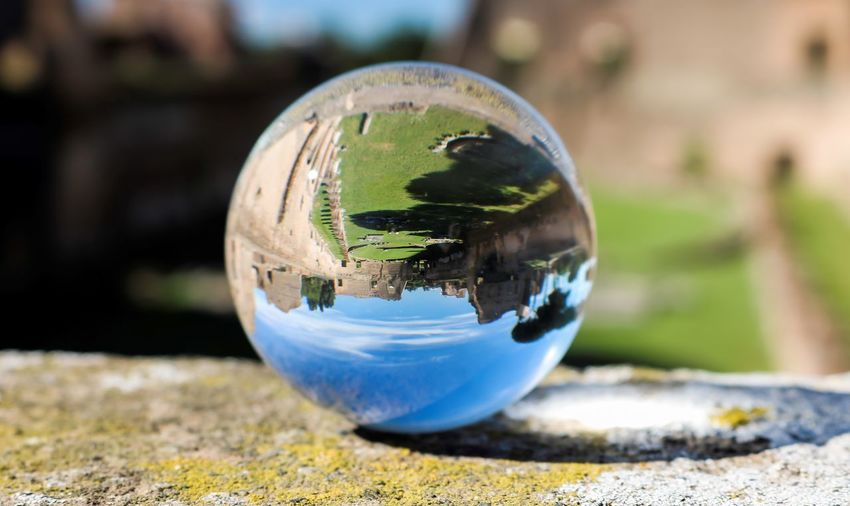 Close-up of crystal ball with reflection