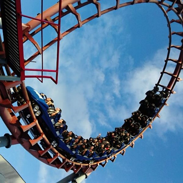 Heart racing !!! 🎢 EyeEmNewHere Amusement Park Rollercoasters Rides And Sky Ride Sky People Heart Attack EyeEmNewHere