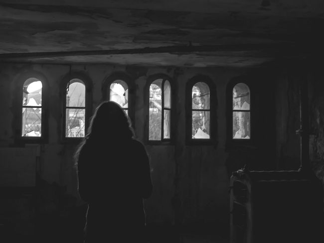 Silhouette Light And Shadow March2015 Urban Exploration Girl Darkness And Light Taking Photos Abandoned Places Looking To The Other Side