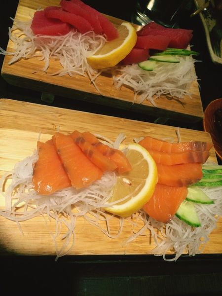 Healthy Eating Food And Drink Freshness Food Lemon SLICE Seafood No People Indoors  Shrimp Table Close-up Ready-to-eat Day Sashimi Dinner Sashimi Platter Japanese Food